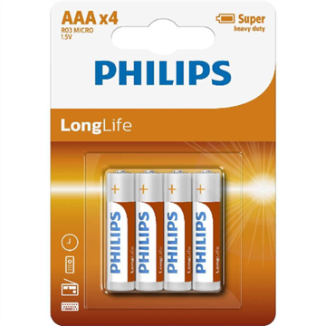 Picture of PHILIPS BATERIJA - AAA LONGLIFE BLISTER 4 KOS (R03)